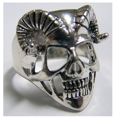 RAM HORNS HUMAN SKELETON  SKULL HEAD BIKER RING (Sold by the piece)