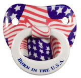 BORN IN THE USA AMERICAN FLAG BILLY BOB TODDLER PACIFIER ( sold by  the piece )