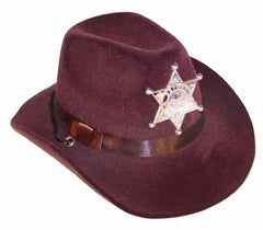 BROWN FELT SHERIFF COWBOY HAT WITH BADGE (Sold by the dozen)