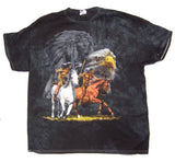 INDIAN WITH EAGLE / HORSES TIE DYED EARTH TONE TEE SHIRT (Sold by the piece)