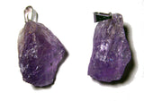 AMETHYST ROUGH NATURAL MINERAL STONE PENDANT (sold by the piece or bag of 10 )