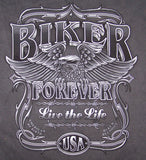 BIKER FOREVER CHARCOAL COLOR SHORT SLEEVE TEE-SHIRT (Sold by the piece)