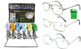 BULK LOT 144 PAIR READING METAL FRAME GLASSES WITH FREE DISPLAY