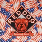 RED DOG BANDANA WITH USA FLAGS (Sold by the dozen)