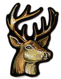BIG BUCK DEER HEAD 4 INCH EMBROIDERED PATCH ( sold by the piece )