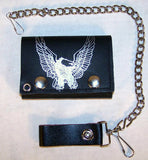EAGLE WINGS UP TRIFOLD LEATHER WALLETS WITH CHAIN (Sold by the piece)