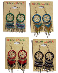 DREAM CATCHER DANGLE SEED BEAD EARRINGS ( sold by the dozen or piece )