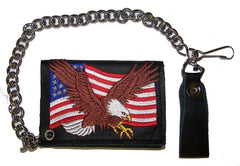 EMBROIDERED AMERICAN FLAG EAGLE TRIFOLD LEATHER WALLET WITH CHAIN (Sold by the piece)