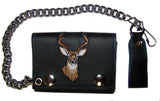 EMBROIDERED BIG BUCK DEER TRIFOLD LEATHER WALLET WITH CHAIN (Sold by the piece)