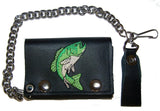 EMBROIDERED FISH TRIFOLD LEATHER WALLET WITH CHAIN (Sold by the piece)
