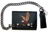 EMBROIDERED FLYING EAGLE TRIFOLD LEATHER WALLET WITH CHAIN (Sold by the piece)