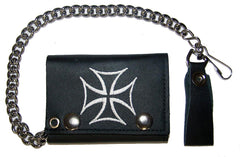 EMBROIDERED IRON CROSS TRIFOLD LEATHER WALLET WITH CHAIN (Sold by the piece)