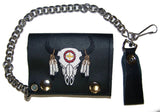 EMBROIDERED BUFFALO SKULL W FEATHERS TRIFOLD LEATHER WALLET WITH CHAIN (Sold by the piece)