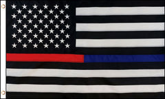 BLACK WHITE AMERICAN RED / BLUE THIN LINE 3 X 5 FLAG ( sold by the piece )