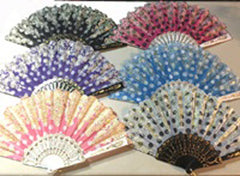 GOLD GLITTER FLOWER  HAND FANS ( sold by the dozen )