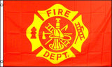 FIRE DEPT DEPARTMENT EMBLEM FLAG NEW 3 X 5 FLAG ( sold by the piece )
