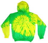 GREEN YELLOW FLO SWIRL TIE DYED HOODIE (sold by the piece ) CLOSEOUT $ 10 EA