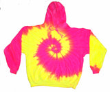 PINK YELLOW FLO SWIRL TIE DYED HOODIE (sold by the piece ) *- CLOSEOUT NOW $ 12.50 EA
