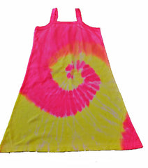 PINK AND YELLOW SWIRL TIE DYED DRESS ( sold by the piece )