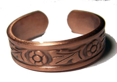 PURE HEAVY COPPER STYLE # J FLOWER RING ( sold by the piece )