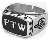 FTW MIDDLE FINGER STAINLESS STEEL BIKER RING ( sold by the piece )