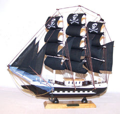 WOODEN 13 INCH PIRATE SHIP (Sold by the piece) *- CLOSEOUT $ NOW $7.50 EA