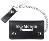 BAD MOTHER F*R 6 INCH BIKER / TRUCKER LEATHER WALLET WITH CHAIN (Sold by the piece)
