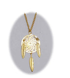 18 INCH METAL DREAM CATCHER GOLD NECKLACE WITH FEATHERS (SOLD BY THE PIECE)