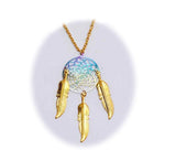 18 INCH METAL DREAM CATCHER GOLD RAINBOW NECKLACE WITH FEATHERS (SOLD BY THE PIECE)