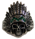 INDIAN CHEIF W GREEN BAND STAINLESS STEEL BIKER RING ( sold by the piece )