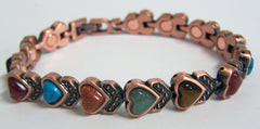 SOLID COPPER MAGNETIC HEART SHAPED MIXED STONES LINK BRACELET  (sold by the piece )