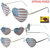 HEART SHAPED AMERICAN FLAG WOMEN SUNGLASSES ( sold by the piece or dozen )