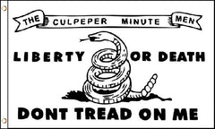 CULPEPER MINUTEMEN DON'T TREAD ON ME WHITE 3' X 5' FLAG (Sold by the piece)