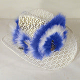 ASSORTED COLORS FEATHER COWBOY HAT HEAD BANDS (Sold by the dozen) CLOSEOUT NOW ONLY .50 CENTS EA