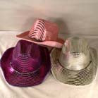 assorted color  SHINY VELVET COWBOY HAT WITH SPARKLES (Sold by the piece )