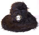 FUZZY TALL ROCK AND ROLL TOP HAT WITH SKULL (Sold by the piece)