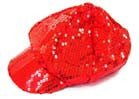 SEQUIN RED BASEBALL HAT (Sold by the piece)