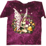 FAIRY WITH MUSHROOMS TIE DYED SHORT SLEEVE TEE SHIRT (Sold by the piece)