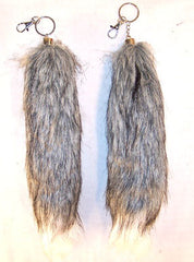GREY WHITE TIP FOX TAIL KEY CHIAN (Sold by the piece) *- CLOSEOUT NOW $2.50 EA
