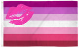 LIPSTICK KISS LESBIAN RAINBOW PRIDE  3 X 5 FLAG ( sold by the piece )