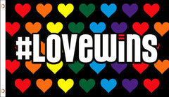 # LOVE WINS HEARTS RAINBOW 3' X 5' FLAG (Sold by the piece)