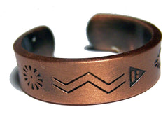 PURE HEAVY COPPER STYLE # D NATIVE SYMBOLS RING ( sold by the piece )
