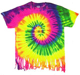FRINGED NEON RAINBOW SWIRL TIE DYED TEE SHIRT ( sold by the piece ) XL ONLY