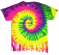 FRINGED NEON RAINBOW SWIRL TIE DYED TEE SHIRT ( sold by the piece )