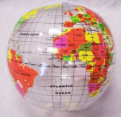CLEAR SEE THROUGH WORLD GLOBE 12 IN INFLATABLE ( sold by the dozen )