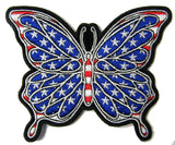 AMERICAN FLAG PATRIOTIC BUTTERFLY SIGN 4 INCH EMBROIDERED PATCH ( sold by the piece )