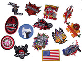 ASSORTED GRAB BAG NOVELTY / BIKER PATCHES (sold by the dozen ) -* CLOSEOUT .75 CENTS EACH  EA