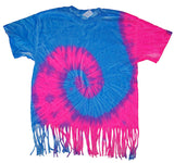 FRINGED BLUE / PINK SWIRL TIE DYED TEE SHIRT ( sold by the piece )