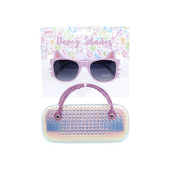 Pink Dazey Shades Tween Cat Shape Fashion Sunglasses with Case ( sold by the piece)