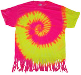 FRINGED PINK / YELLOW SWIRL TIE DYED TEE SHIRT ( sold by the piece )